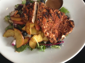 Grilled Peach Salad with blackened chicken