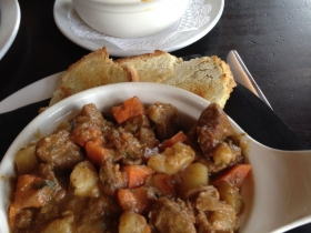 Chef's soup, a large bowl of lamb stew