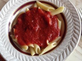 Al dente mostaccioli with marinara