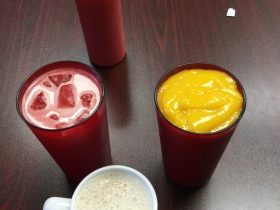 Mango smoothie, watermelon juice, and  Chai tea