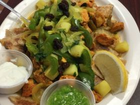 Chicken platter on KayKay with yogurt and green sauce