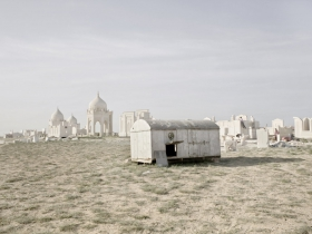 Migrant workers build luxury mausoleums for families of new-rich at Koshkar Ata -ancient City of the Dead. Aqtau, Kazakhstan, 2012