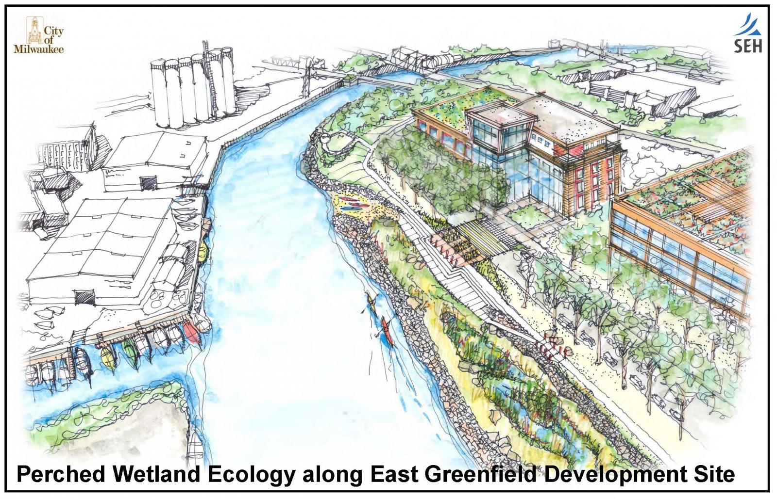 East Greenfield Waterfront. Rendering by SEH.