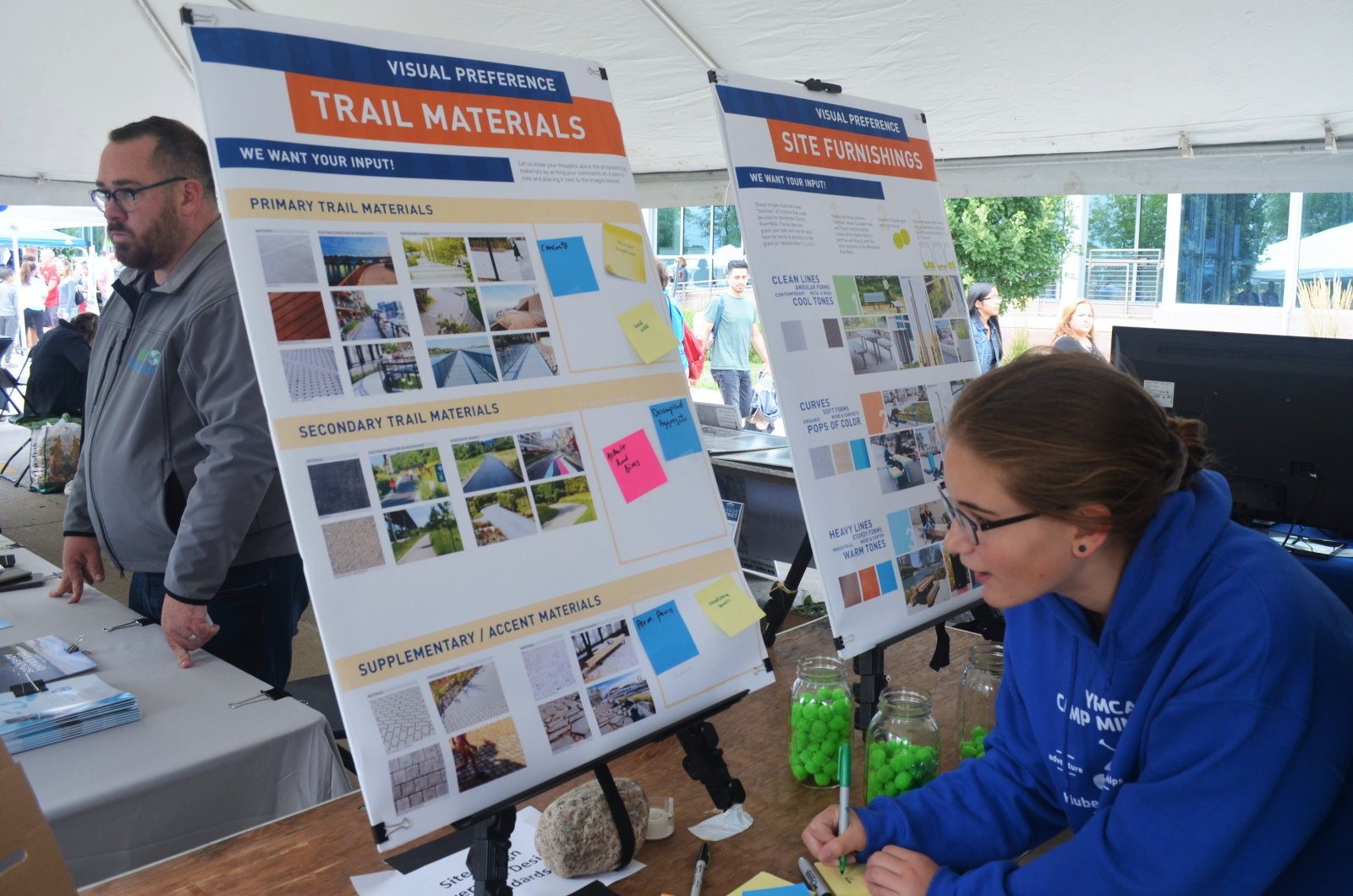 Guests leave comments on the planned riverwalk for the Harbor District