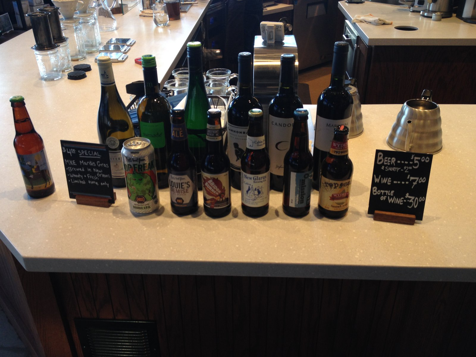 Drink options at Stone Creek Coffee