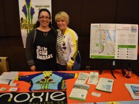 Carmen Berte and Berta Glodowski, members of the women's riding group the Bella Donnas