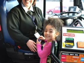Bus operator and instructor, Karen Martinez-Casper and her granddaughter
