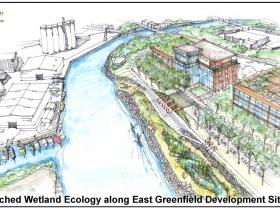 East Greenfield Waterfront. Rendering by SEH.