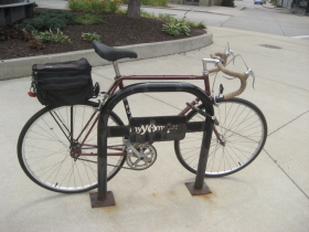 Michael Horne's bike parked at The Waterfront