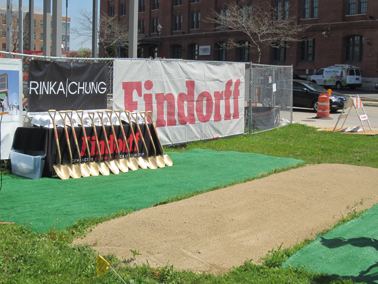 Prepared ground for ground breaking.