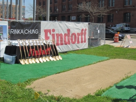 Prepared ground for ground breaking.