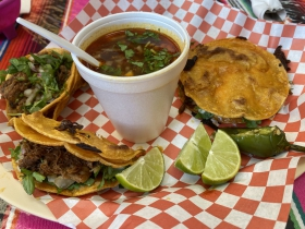 Birria tacos with consommé