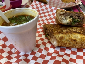 Burrito with consommé