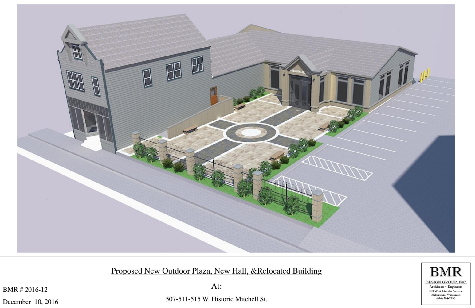 Proposed New Outdoor Plaza, New Hall & Relocated Building