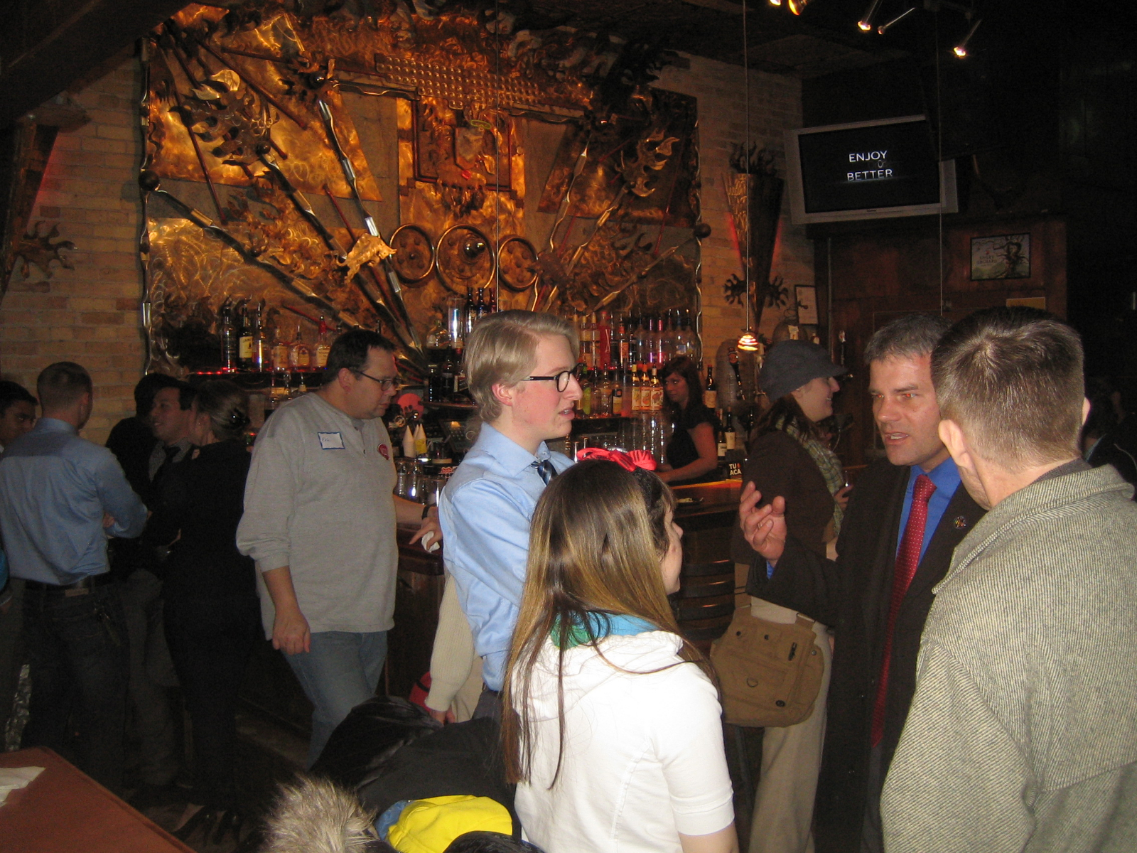 Mingling at the fundraiser.