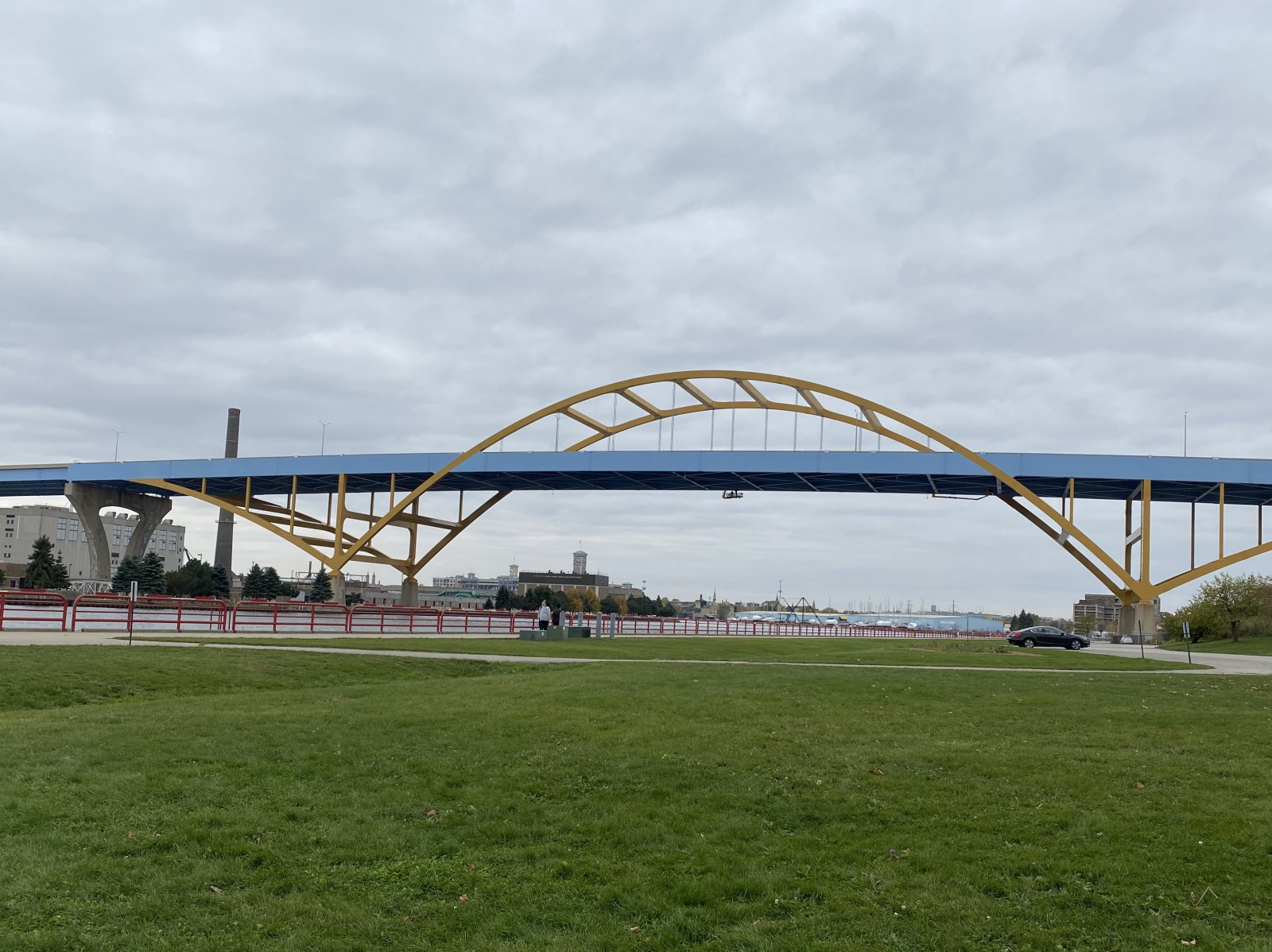 Hoan Bridge view from the park