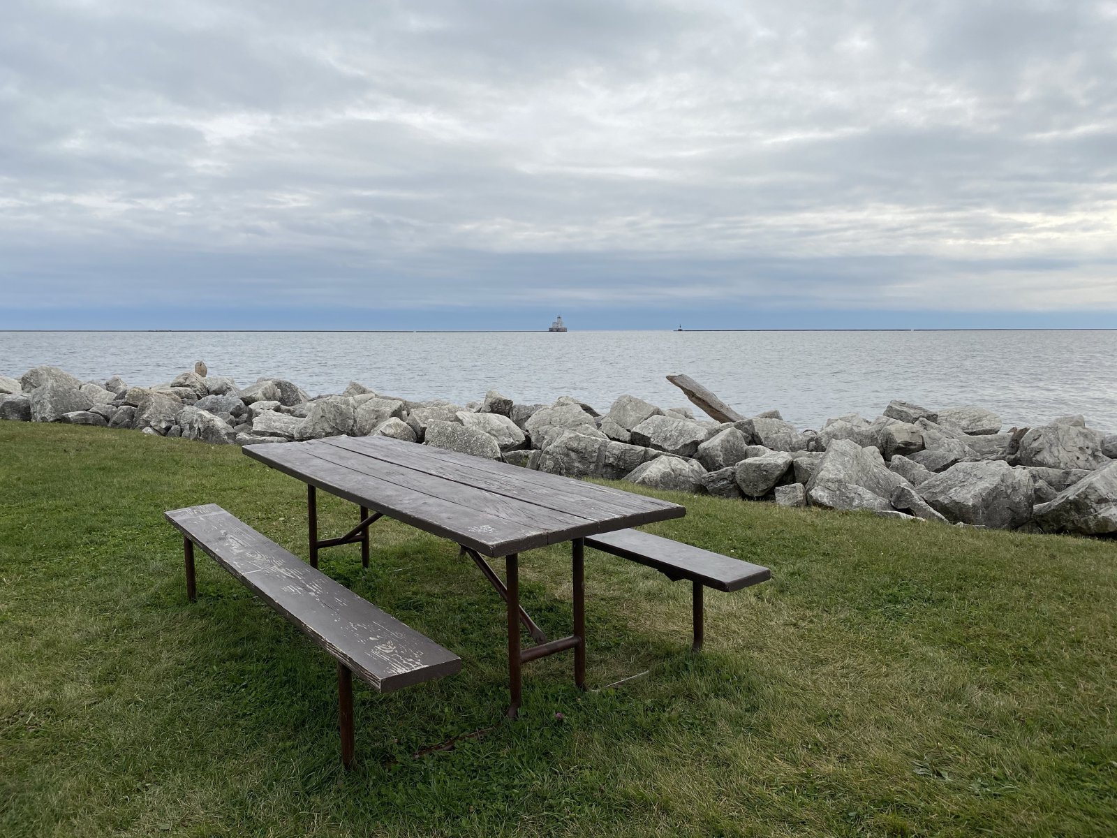 One of several picnic tables