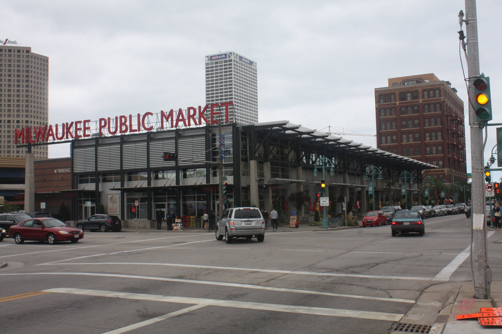 Milwaukee Public Market is busy on a grey day