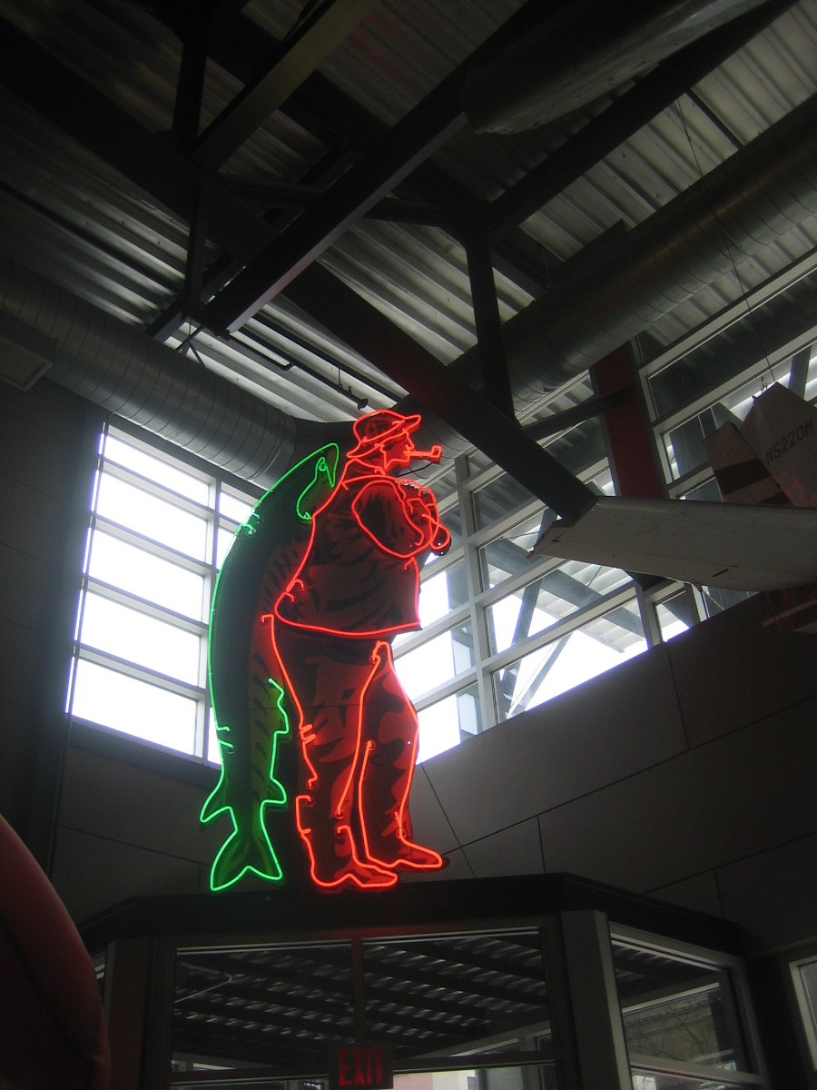 This neon sign once dominated the Post Washington lakefront above Smith Bros. Fish Shanty. It was installed Monday, March 31st, 2014 at the St. Paul Fish Company in the Milwaukee Public Market