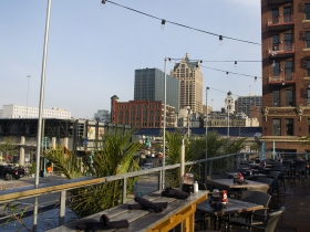 A view towards downtown from Cafe Benelux.