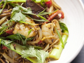 Singapore Noodles with char siu, shrimp and bok choy at DanDan in Milwaukee, Wisconsin. Photo by Kevin J. Miyazaki/PLATE