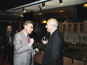 The mayor and Atty. David Gruber have a chat at the Public Market fundraiser for Supreme Court candidate Ed Fallone.