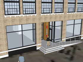 Initial design with ramp on Broadway. Rendering by Eric Ponto of Engberg Anderson Architects.