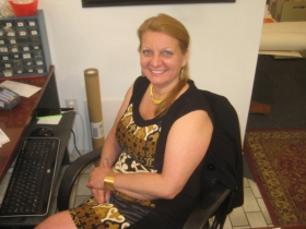 Pam Brown, the friendly receptionist at DeLind Fine Arts.