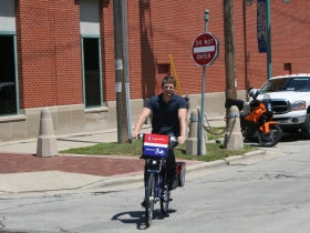 Chris Socha trying out B-Cycle