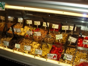 Olive fanciers might have a difficult time choosing just one selection from the deli case. Photo by Peggy Schulz.