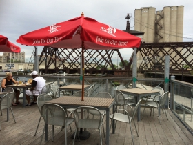 The patio at Riverfront Pizzeria