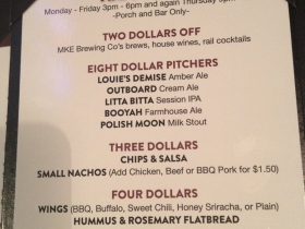 Milwaukee Ale House Menu