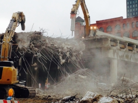 Smoke rises during the demolition of 794.
