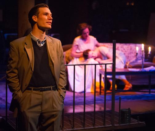 John Glowacki (foreground) as Tom Wingfield; Angela Iannone (Amanda) and Grace DeWolff (Laura) (background).
