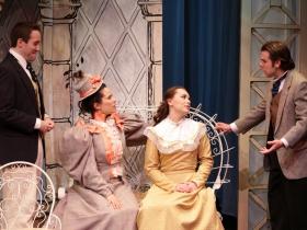 Doug Clemons (Algernon), Kristin Hammargren (Gwendolen) Peyton Oseth (Cecily), Zachary Thomas Woods (Jack)