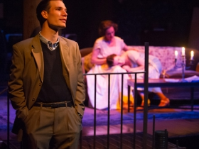 John Glowacki (foreground) as Tom Wingfield; Angela Iannone (Amanda) and Grace DeWolff (Laura) (background).
