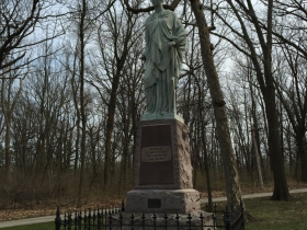 """Statue of Labor which is also known as """"The Pewter Lady"""" by sculptor Gustav Haug."""