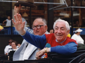 Chappie Fox and Ben Barkin riding in the Circus Parade, late 1990s