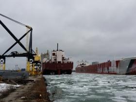 Edwin H Gott, 1000 foot ore carrier coming in for winter layup  January 2015.