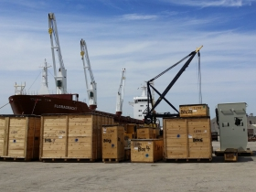 Mining Equipment staged to go out to The Netherlands, April 2015