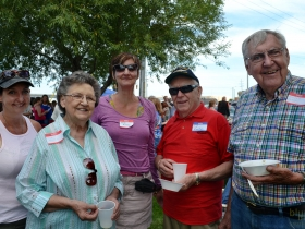 Margaret Couillard, Gloria, Jane, Jim and Ronald Konkel--all from the same lineage but not necessarily directly--pose for a photo.