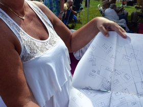 Sharon Sanders (nee Bialk) shows off a map from her deep folder of Jones Island history.