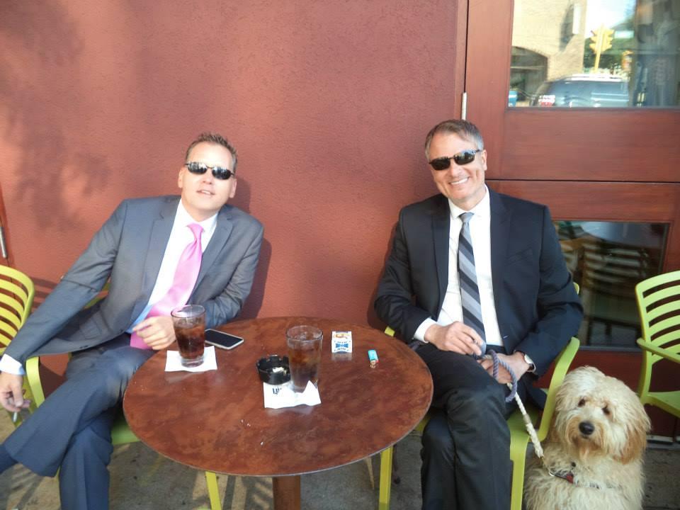 Ken Flitz and John Malaczynski enjoying a drink a Taylor\'s
