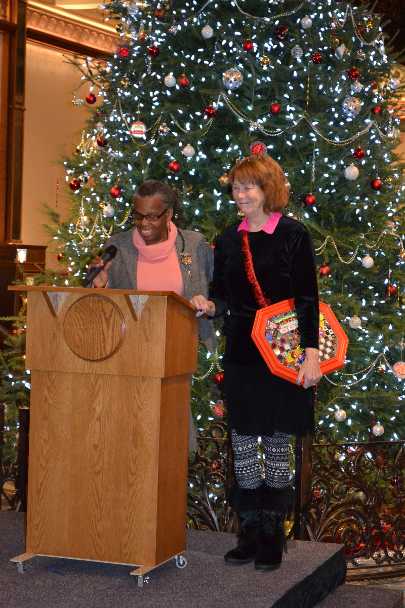 Evelyn Patricia Terry proposes her idea for art seats: Luv Downtown StreetSeats: Make a Present, Make a Future.