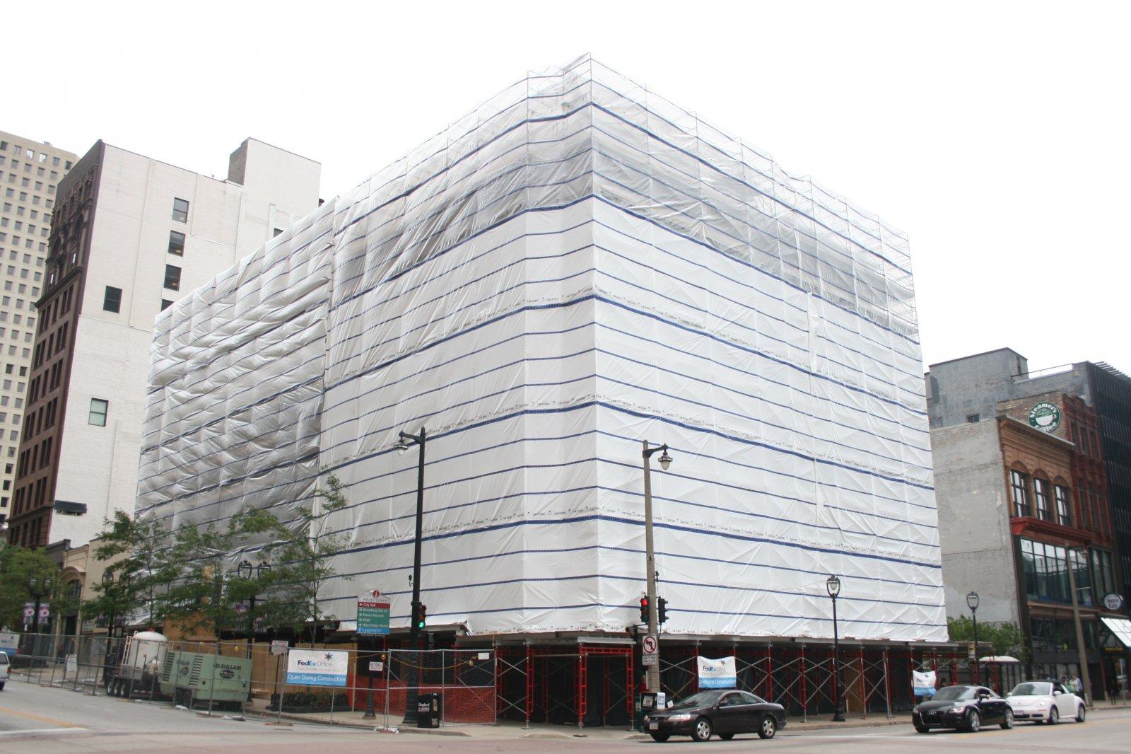 Plastic Wrapped Iron Block Building