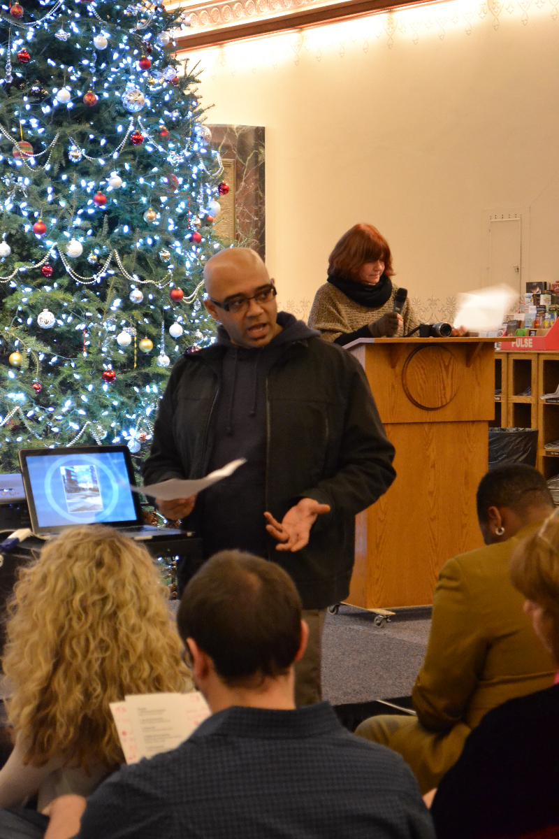 Theresa A Kenney and Jamal Currie present their QR Code art gallery idea: Avenue 101.