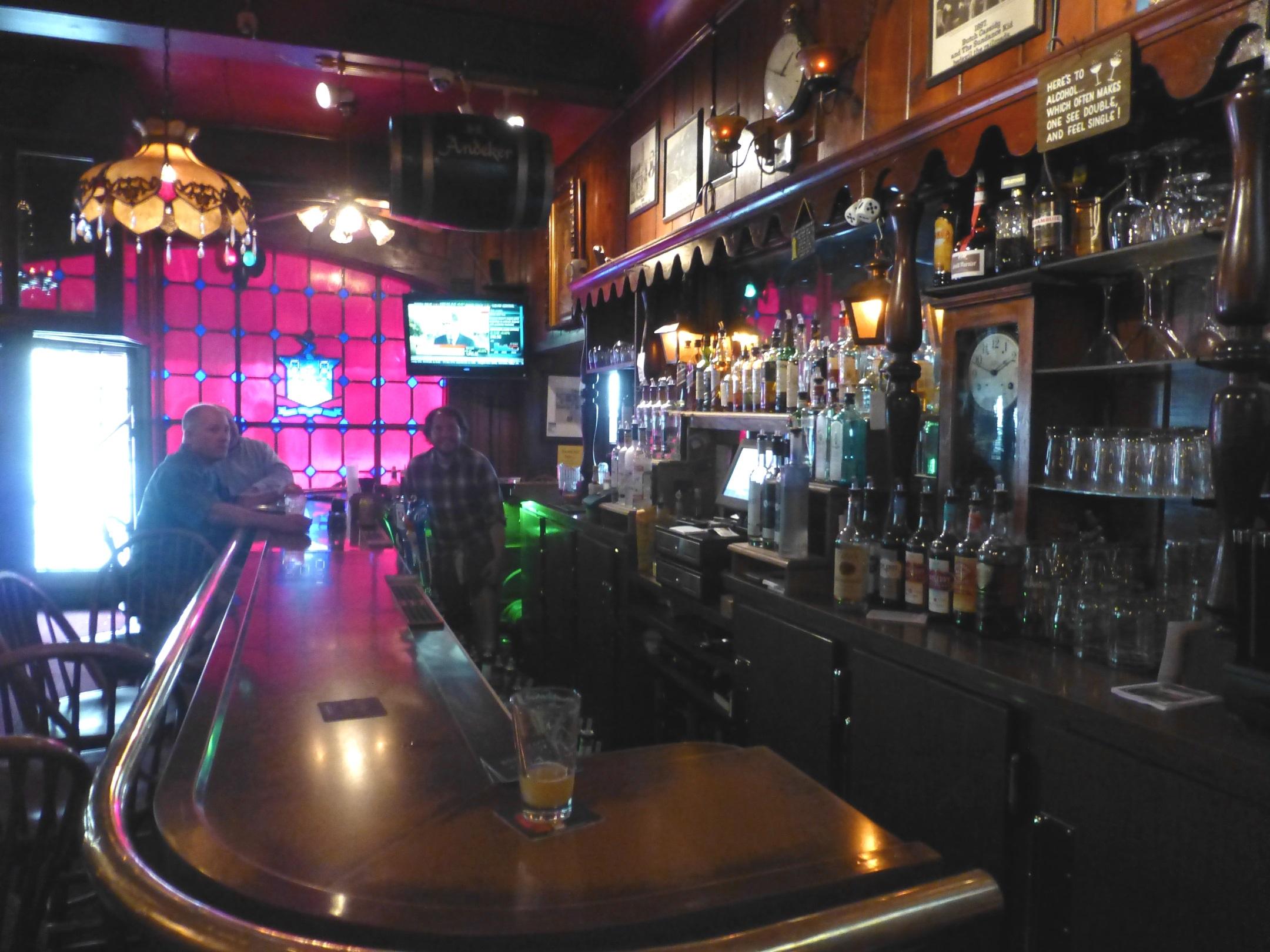 The bar at the Swingin' Door Exchange.