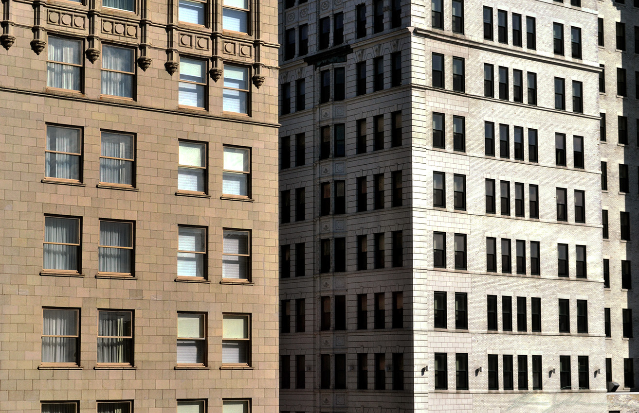 Buildings fade into each other.