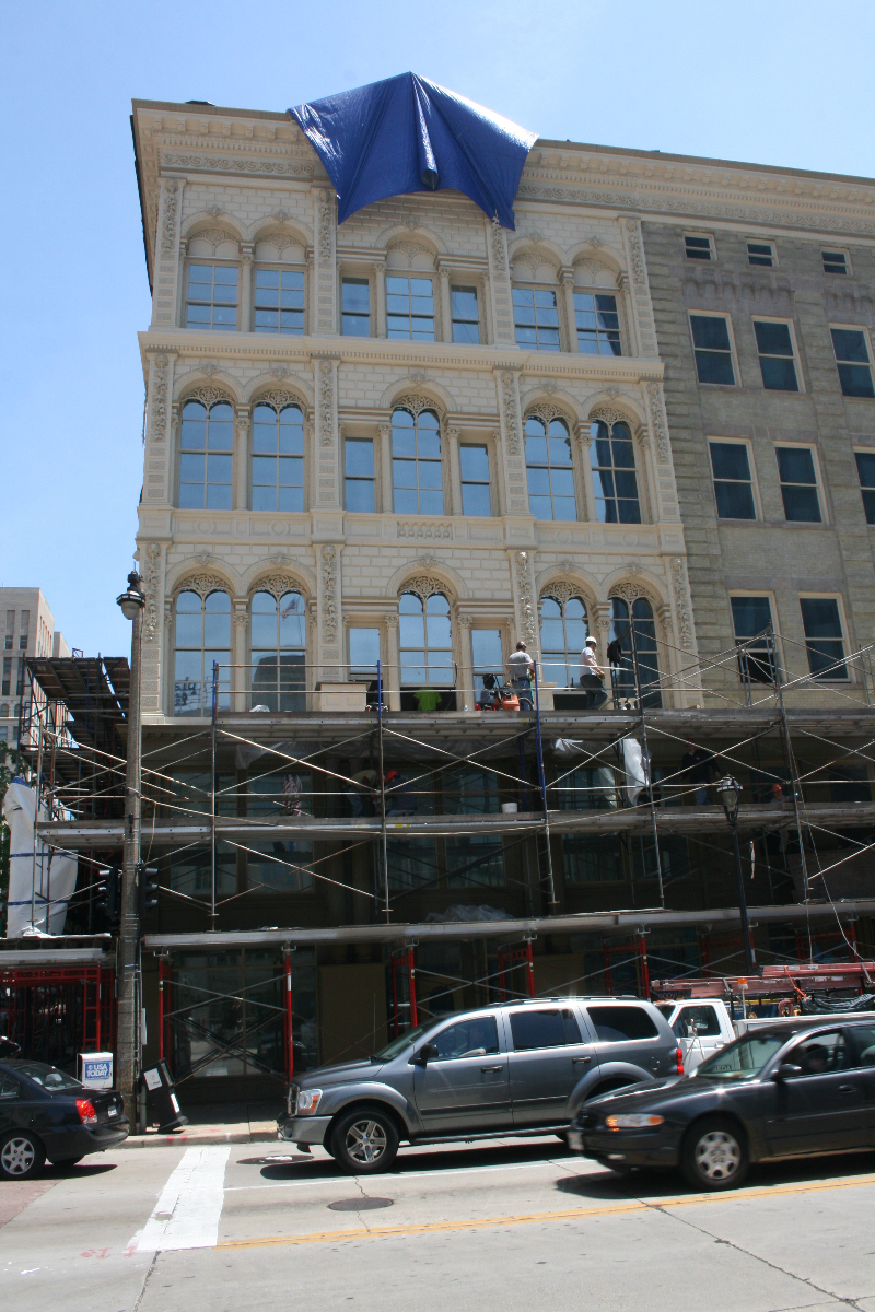 The preservation work on the Iron Block Building is almost finished.