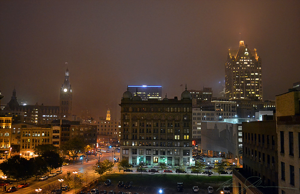 The Germania Building in the fog.